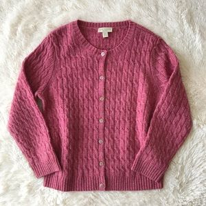 Appleseed's berry wool cable knit  cardigan